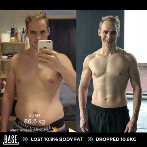 พัฒนาการ สร้างกล้ามเนื้อ ของ Jakob และ การลดไขมันไปกว่า 10.9%